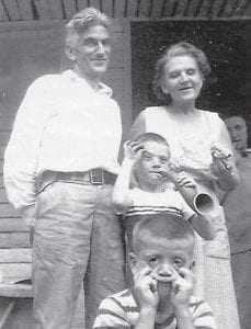 MUGGING FOR THE CAMERA — Pictured are the late Bill Howard and his sister, the late Della (Howard) Palumbo, with Kathleen Brock in back. Whitesburg correspondent Oma Hatton says,