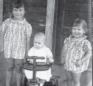 MARLOWE KIDS — Pictured are Lucille, Kathleen, and John Jr., the children of the late John and Mae Stidham of Marlowe.