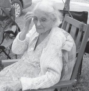 BIRTHDAY — Grace Caudill of Blackey celebrated her 94th birthday August 10. Present in addition to her children and grandchildren were her sister Bertha Hall and husband Jim and their son David Hall from Indiana, and her sister Jessie Hampton of Doty Creek. Mrs. Caudill lives in her home and cares for herself most of the time. She was the Blackey correspondent for The Mountain Eagle for 15 years.
