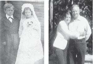 TOM THUMB WEDDING — Jim Cornett of Burnside and the late Kathleen Stidham (Johnson) are pictured 'getting married' in a Tom Thumb wedding in 1944 at Marlowe. The two didn't see other for 40 years, but met again in 1984. Mrs. Johnson died in 1986 and Cornett attended her funeral services.