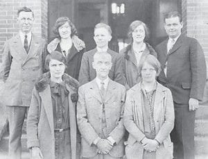 WHS FACULTY — Pictured are members of the 1927-28 Whitesburg High School faculty. Back row, left to right are E.B. Hale, Cecile Elliott, William Harris, Elis Cleary, Marvin Glenn, (front row) Adaline Colyer, Supt. (Principal) R. Dean Squires, and Hazel Lewis.