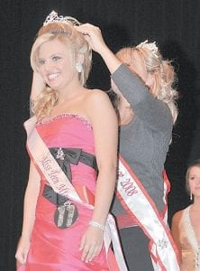 ALL SMILES — Courtney Fields, a student at Letcher County Central High School, smiled as she was crowned after being named Miss Teen Mountain Heritage for 2009. Twelve girls competed in the pageant.