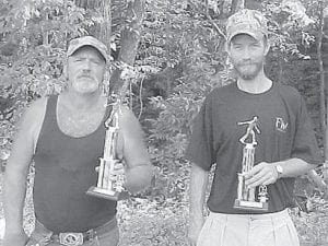 SECOND PLACE — Alvin Slone and Dave Caudill were the second-place winners in the horseshoe tourney at Isom Days.