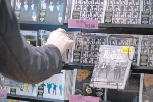 In this Sept. 9, 2009 file photo, The Beatles re-mastered albums are seen in a downtown record store in Vancouver, B.C. (AP Photo/The Canadian Press)