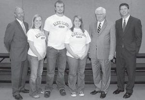 COLLEGIATE SUMMIT — Student representatives from Alice Lloyd College, (second from left) Sydney Whitaker, Letcher County; Todd Duff, Breathitt County; and Brittney Adams, also from Letcher County, joined students from Kentucky colleges and universities at a Collegiate Summit on Sept. 18 at The Center for Rural Development in Somerset hosted by the Center's Higher Education Consortium. Joining them are (from left) Lonnie Lawson, president and chief executive officer of the Center; U.S. Rep. Harold