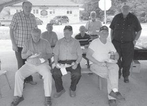 BOAR'S NEST BIRTHDAY — Members of the Boar's Nest and Freedom Hall in Whitesburg celebrated Vernon Cornett's 92nd birthday on Sept. 25. Pictured are (front row, left to right) Bill Collins, Lee Boggs, Vernon Cornett, Estill Taylor, Bernie Johnson, (back row) John Milam, Carl Parrott, and Elbert Lee Sr.