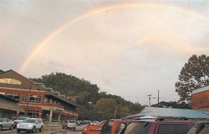 Diana Holbrook of Webb Branch, near Jenkins, had her camera handy when this rainbow appeared in East Whitesburg about 6:30 p.m. on Saturday. Finally, the long day of rain had stopped just in time for a concert featuring Nashville-based country-rock duo Halfway to Hazard.