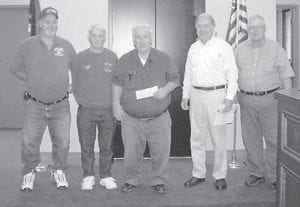 DONATION — Gary I. Conley, executive vice president and general counsel of Kentucky River Properties LLC (second from right) is pictured with representatives of fire departments in Letcher County. Kentucky River Properties LLC contributes annually to the fire departments in Letcher Country and surrounding counties.