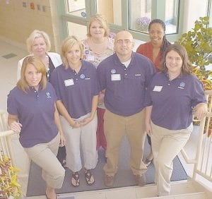 STUDENT AMBASSADORS — The student ambassadors for the Whitesburg Campus of Southeast Kentucky Community and Technical College are (left to right, front row) Kayla Bates, Heather Bates, William Long, and Hannah Smith. In the back row are advisor Peggy Conklin, advisor Rhona Creech, and Keisha Hunt. The students will provide assistance with college events such as fund-raisers, receptions, celebrations, and admissions outreach.