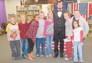 PRESIDENTIAL VISIT — Abraham Lincoln, in the person of Jim Sayre, recently visited McRoberts Elementary School.