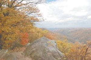 THE BEAUTY OF FALL — Cloudy weather has been the norm in Letcher County for most of this fall, but overcast skies couldn't dim the beauty of the changing leaves when this photograph was taken from an overlook on Little Shepherd Trail on October 23. (Photo by Sally Barto)