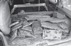 Two men and one woman were arrested after Sheriff 's Lieutenant Brian Damron found this load of railroad steel in the vehicle in which they were traveling on October 25.