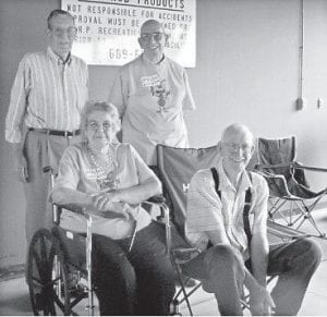 ELDRIDGE REUNION — The descendants of Colonel and Angelina Caudill Eldridge held a reunion in Versailles, Ind., in June. Pictured are (standing, left to right) Kenneth Eldridge, Milan, Ind.; Clinton Eldridge, Batesville, Ind.; (seated) Ila Eldridge Richards, Andrews, S.C., and Clyde Eldridge, Rising Sun, Ind.