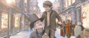 In this film publicity image released by Disney, Ebenezer Scrooge, voiced by Jim Carrey, is shown carrying Tiny Tim, voiced by Gary Oldman, are shown in a scene from
