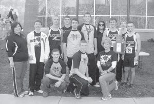 The members of the boys' team are (left to right) assistant coach Faye Collier, Eric Fields, Nick Cook, Brandon Hamilton, Jake Dixon, Cole Cornett, assistant coach Cassie Stamper, James Goose Gose, Cody Gregory, Tyler Smith, Kevin Collier, Trenton Whitaker and coach Sally Hubbard.
