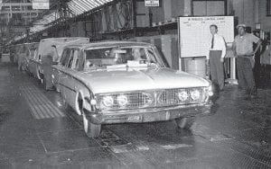 The last Edsel to be built, a tan station wagon officially referred to as job number 344, rolled off the Ford Motor Company assembly line with no fanfare in Louisville on Nov. 20, 1959. The ill-fated Edsel model line became synonymous with marketing failure. (AP Photo/H.B. Littell)