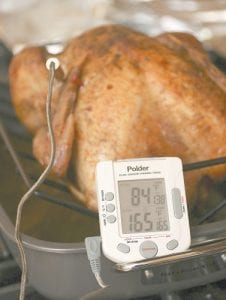 Federal guidelines state that your turkey is safe to eat when the innermost part of the thigh reaches 165 F. If the turkey is stuffed the stuffing must also reach 165F. (AP Photo/Larry Crowe)