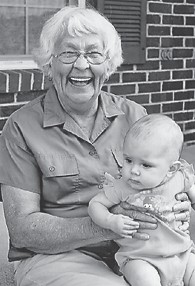 EVA LEE PHILPOTT is the daughter of Jonathon and Casey Philpott. She is pictured with her great-grandmother, Martha Burns, with whom Whitesburg correspondent Oma Hatton started first grade at Blackey a few years ago.