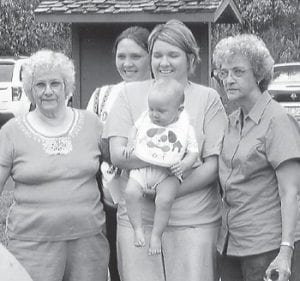 FIVE GENERATIONS — Pictured are Geneva Adams, Wanda Tolliver, Tammy Fields, Paige Adams, and Brackston Baker, five generations of one family.