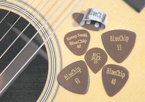 BlueChip Picks offers a wide variety of styles in picks, including some custom-tailored to expert musicians' tastes. Mandolin virtuoso Chris Thile uses the CT55, top right, which was designed according to his specifications. (Knoxville News-Sentinel/Adam Brimer)