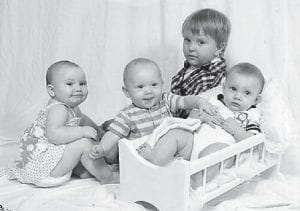 GREAT-GRANDCHILDREN — Pictured are the four greatgrandchildren of Geneva Adams. From left to right are Allicin White, Braxton Baker, Kadon Hensley, and Joseph Keel.