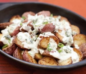 Roasted New Potatoes with Blue Cheese Ranch Dressing and Green Onions