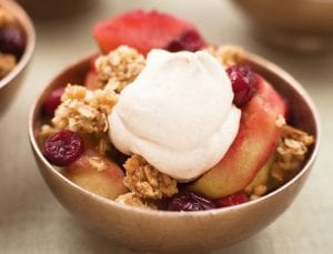 Oven Roasted Apple-Cranberry Crisp with Creamy Spiced Chantilly