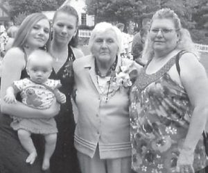 FIVE GENERATIONS — Pictured are five generations of the Kincer family. From left to right are Brittany Cox holding nine-month-old Senerity Rose Dezarn, Rhonda Hodges, Vivian Dawn Craft Kincer, who is formerly from Pine Creek at Mayking, and Alba Kincer Hodges. The family now lives in Cincinnati, Ohio.