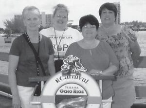 AT SEA — Wilma Sexton, Wanda Robinson, Doris Ann Banks, who are co-workers at Food City, and Brenda Richardson, the Beckham Bates Elementary School secretary, recently enjoyed a Carnival cruise. They cruised to Key West, the Grand Cayman Islands, and Jamaica. The women said it was a fabulous vacation and all are planning to cruise again soon.