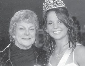 HOMECOMING QUEEN — Former Letcher County resident Arminta Jenkins of Kaufman, Tex., is pictured with her granddaughter Kelsey McWha, who was crowned homecoming queen at Scurry-Rosser High School in Texas.