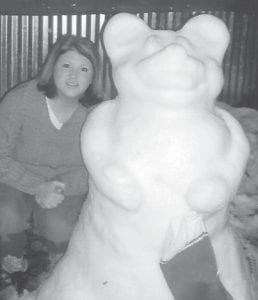 SNOW TEDDY BEAR — April Bailey built this snow Teddy bear Dec. 21 at her home at Little Colley at Isom. She is married to Josh Bailey and is the daughter of Kathy Honeycutt of Colson and the late Clyde Hensley.