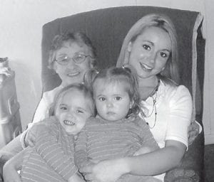 ADA MILLER KING is pictured with her granddaughter, Susan, and great-grandchildren, Paige and Paris.