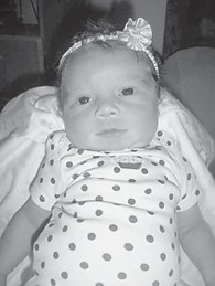 JANUARY BABY — Peyton Riley Danette Adams was born January 7 at Whitesburg Appalachian Regional Hospital. She is the daughter of Hali Sturgill and Matthew Adams, both of Mayking, and has an older brother, Maddox Adams, 13 months. Her grandparents are Paula and Dawayne Sturgill of Mayking.