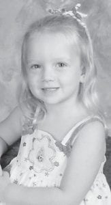 FOUR YEARS OLD — Callie Combs celebrated her fourth birthday on January 4. She is the daughter of Tony Combs, and the granddaughter of Jim and Pam Combs, all of Eustis, Fla. She is the greatgranddaughter of the late Monroe and Ruby Combs.