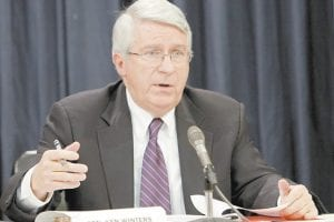"State Sen. Ken Winters, R-Murray, talked about ""Race to the Top"" funding, part of last year's federal stimulus package intended to improve low-performing schools, during a Senate Education Committee meeting in Frankfort Tuesday. (AP Photo/Ed Reinke)"
