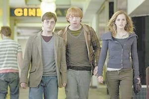 "This photo shows Daniel Radcliffe as Harry Potter, Rupert Grint as Ron Weasley and Emma Watson as Hermione Granger in Warner Bros. Pictures' fantasy adventure ""Harry Potter and the Deathly Hallows - Part 1.""(Warner Bros.)"
