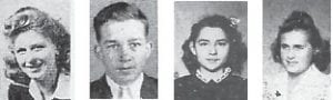 CLASS OF 1948 —June Maggard, Paul Clay Stallard, Frances Sparks and Patsy Lawson were members of the Whitesburg High School Class of 1948. These pictures were from the 1946 Clarion when these students were sophomores.