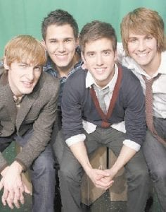 """The stars of the Nickelodeon TV series """"Big Time Rush,"""" from left, Kendall Schmidt, Carlos Pena, Logan Henderson and James Maslow posed for a picture recently in New York. (AP Photo)"""