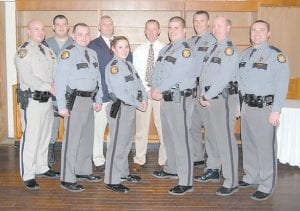 Kentucky State Police who helped with the citizens police academy are (front row, from left) Commercial Vehicle Enforcement Officer Neil Johnson, Trooper Brandon Thomas, Trooper Jennifer Sandlin, Trooper Jodi Simms, Trooper Tony Watts, Captain Scott Miller, (back row, from left) K-9 Officer James Sandlin, Det. Lt. Claude Little, Det. Randy Combs and Trooper Derek Hall.