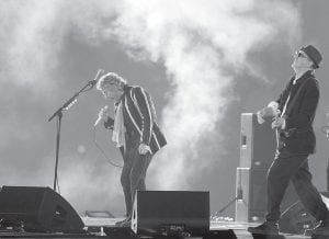 The Who's Roger Daltrey, left, and Pete Townshend performed during halftime of the NFL Super Bowl XLIV football game between the Indianapolis Colts and New Orleans Saints in Miami on Sunday. (AP Photo)