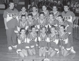 CHEERLEADING CHAMPS — The Jenkins High School cheerleaders will travel to Western Kentucky University in Bowling Green on Saturday to compete in the state cheerleading championships. Jenkins advanced to Bowling Green after winning the 14th Region's coed title in Jackson on Feb. 7. Pictured are, back from left, Jacob Hicks, Leshia Fleming, Brooke Webb, Stachia Collins, Amber McCall, Charlie Cox, (middle row, from left) Jessica Mullins, Brittany Webb, Mariah Fleming, Kimmie McCall,Ashley Wright, (front row, from left) Michaela Hardin, Brook Puckett, Ali Goff , Charity Neace, Alexis Watts.