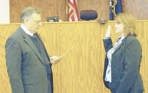 New Asst. Commonwealth's Attorney Jenna Watts was sworn into office Feb. 10 by Letcher Circuit Judge Sam Wright.