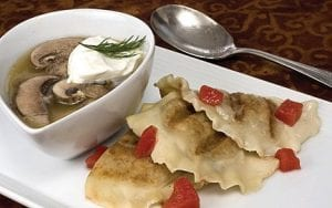 Pelmeni, a crescent shaped dumpling found in Russian kitchens,which helps make this mushroom soup with pelmeni a great choice for dinner wherever you live. (AP Photo/Larry Crowe)