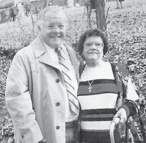 BIRTHDAY — Bertha Hatton Sizemore celebrated her 103rd birthday on Feb. 22. She is pictured at the Bony Banks Cemetery at UZ with her brother, Ray Hatton, attending the funeral of their brother, Bill, in 1998. (Photo by Irene Emma Hatton)
