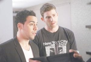 "Bryan Greenberg, right, and Victor Rasuk are shown in a scene from the HBO original series, ""How to Make it in America."" (AP Photo)"