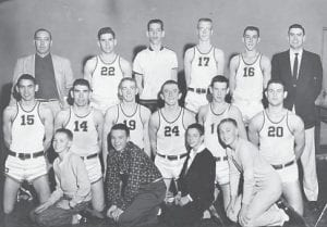 1955-56 WHITESBURG HIGH SCHOOL BASKETBALL TEAM — Pictured are (front row, left to right) Chad Back, Phillip Pee Back, Donnie Gail Sexton; Daryl Boggs, (second row) Wendell Meade, Robert Meade, Basil Sexton, Billy K. Banks, Darrell Stidham, Jimmy Jones, (back row) Assistant Coach Ed Moore, Darrell Caudill, Morrell Blair, Jimmie Darrell Blair, Rex Polly, and Head Coach Ernie Trosper. This team was the 53rd District champ and 14th Region runner-up.