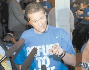 Kentucky coach John Calipari spoke to reporters after watching the NCAA tournament selection show at his home in Lexington on Sunday after the team returned from the Southeastern Conference tournament in Nashville. Kentucky was named the top seed in the East Region and faces East Tennessee State on Thursday in New Orleans. (AP Photo/ Brian Bohannon)