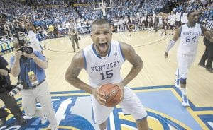 Kentucky's DeMarcus Cousins reacted following the overtime win over Mississippi State. (AP Photo/Dave Martin)