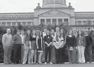"""CAPITAL VISIT — The Letcher County Teen Council visited Frankfort on March 17 and met with Sen. Johnny Ray Turner and Rep. Leslie Combs. Pictured are (left to right) Jason Brashear, Josh Stevens, Eric Fields, Dorothy Whitaker, Carley Caudill, Trevor Adams, Emily Spangler, Addison Whitaker, Courtney Adams, Mychaela Starr, Cori Riff e, Terry """"Bubba"""" Wolfe, Kayla Holbrook, Savannah Reynolds, Chase Mosley, Erica Webb, and Lee Adams."""