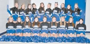 CHEERLEADERS — Pictured is the Letcher County Central High School cheerleading squad for 2009-2010. Left to right, front row, are Tamyra Cates, Adiaha Cook, Marissa Dinsmore, Lori Craft, Brittany Webb, Whitney Hogg, Angelina Gose, Katlyn Creech, Whitney Collier, (back row) Megan Miller, Emily Lucas, Courtney Tucker, Hayley Adams, Destin Kincer, Lindsey Kincer, Ali Hall, Samantha Baker, Lexie Smith, and Katie Quillen. The squad is coached by Mitzi Kincer and Debbie Frazier.